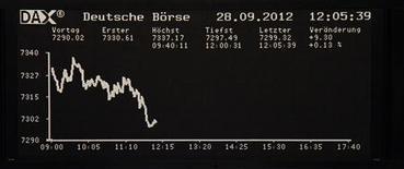 <p>Les Bourses européennes se sont retournées à la baisse à mi-séance. Vers 11h10 GMT, à Francfort, le Dax cède 0,36% et à Londres, le FTSE est stable. À Paris, le CAC 40 perd 1%. /Photo prise le 28 septembre 2012/REUTERS/Remote/Marte Kiessling</p>