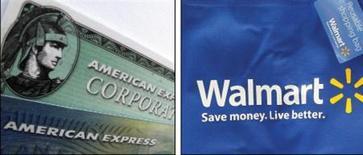 <p>Wal-Mart et American Express se sont alliés pour proposer une alternative à leurs clients n'ayant pas de compte bancaire. Ce système permettra de déposer de l'argent et de régler des factures par téléphone mobile. /Photos d'archives/REUTERS</p>