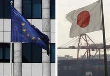 <p>La France a donné jeudi son feu vert à la négociation d'un accord de libre échange entre l'Union européenne et le Japon, après avoir obtenu des conditions portant sur l'accès au marché japonais et les importations d'automobiles. /Photos d'archives/REUTERS</p>