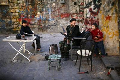 Street life in Aleppo's ruins