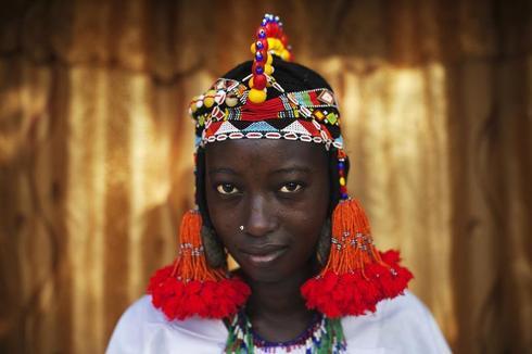 Colourful Songhai headdresses