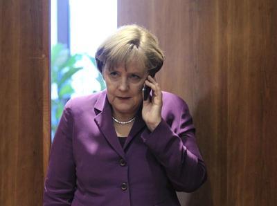 Merkel on the phone
