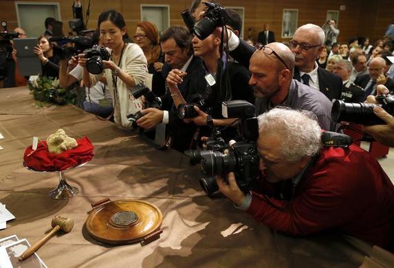 摄影师在2013年11月10日在意大利西北部Alba附近的Grinzane Cavour举行的世界阿尔巴白松露拍卖会上拍摄了两片松露重达2.09磅的松露。这两张最大的松露以90,000欧元(约合120,000美元)的价格出售给来自香港的买家。 REUTERS-Stefano Rellandini