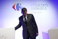 Georges Plassat, le directeur général de Carrefour. Le deuxième distributeur mondial publie mercredi des résultats annuels en nette hausse (2,238 milliards d'euros pour le résultat opérationnel courant), marqués par une forte amélioration de ses performances en France, malgré un contexte économique difficile, ainsi que par un recul dans le reste de l'Europe et en Asie. /Photo prise le 5 mars 2014/REUTERS/Benoît Tessier