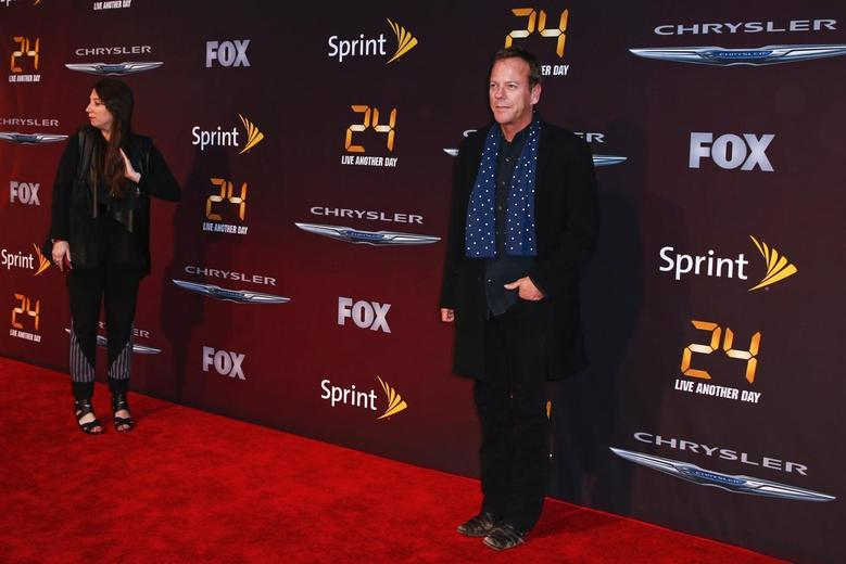 Cast member Kiefer Sutherland (R) arrives for the world premiere of the Fox series 24: Live Another Day in New York May 2, 2014. REUTERS/Lucas Jackson