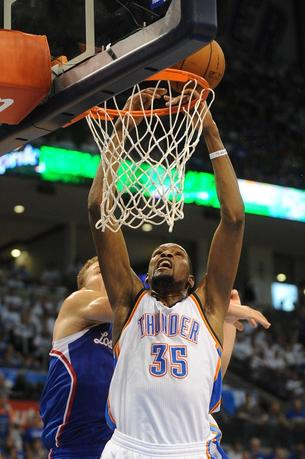 May 7, 2014; Oklahoma City, OK, USA; Oklahoma City Thunder forward Kevin Durant (35) attempts a shot against Los Angeles Clippers forward Blake Griffin (32) during the fourth quarter in game two of the second round of the 2014 NBA Playoffs at Chesapeake Energy Arena. Mark D. Smith-USA TODAY Sports