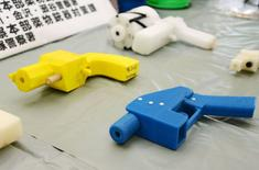 Seized plastic handguns which were created using 3D printing technology are displayed at Kanagawa police station in Yokohama, south of Tokyo, in this photo taken by Kyodo May 8, 2014. REUTERS/Kyodo