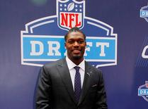 May 8, 2014; New York, NY, USA; Jadeveon Clowney (South Carolina) poses for a photo during the NFL Draft red carpet arrivals at Radio City Music Hall. Andy Marlin-USA TODAY Sports