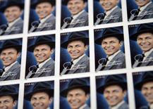 The 42-cent First-Class Frank Sinatra commemorative stamps are seen in New York May 13, 2008.  REUTERS/Shannon Stapleton