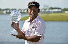 Thailand's Thongchai Jaidee poses with the trophy after winning the Nordea Masters golf tournament at the PGA National in Malmo, Sweden, June 1, 2014. REUTERS/Anders Wiklund/TT News Agency   ATTENTION EDITORS - THIS PICTURE WAS PROVIDED BY A THIRD PARTY. REUTERS IS UNABLE TO INDEPENDENTLY VERIFY THE AUTHENTICITY, CONTENT, LOCATION OR DATE OF THIS IMAGE. THIS PICTURE IS DISTRIBUTED EXACTLY AS RECEIVED BY REUTERS, AS A SERVICE TO CLIENTS. SWEDEN OUT. NO COMMERCIAL OR EDITORIAL SALES IN SWEDEN - RTR3RQ7Q