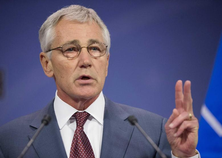 U.S. Defense Secretary Chuck Hagel speaks during a news conference at the end of a meeting of the North Atlantic Council (NATO) in Brussels June 4, 2014. REUTERS/Pablo Martinez Monsivais/Pool