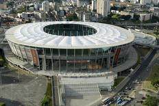 An aerial shot shows the Arena Fonte Nova stadium, one of the stadiums hosting the 2014 World Cup soccer matches, in Salvador, in the state of Bahia, northern Brazil March 28, 2014. REUTERS/Valter Pontes