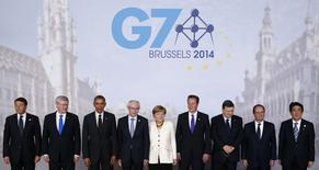 A Bruxelles, le Groupe des Sept (G7) s'est engagé jeudi à mener à bonne fin diverses négociations en cours susceptibles de modifier radicalement le commerce international, et ce en dépit d'une opposition populaire qui va croissant. /Photo prise le 5 juin 2014/REUTERS/Kevin Lamarque