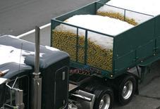 Imagen de archivo de un camión cargado con limones cubiertos por nieve en Los Angeles , ene 17 2007. El Banco Mundial recortó el martes su previsión de crecimiento para la economía mundial, argumentando que una combinación de eventos, desde la crisis en Ucrania hasta el gélido invierno que afectó a Estados Unidos, han perjudicado la expansión durante la primera mitad del año.     REUTERS/Gene Blevins