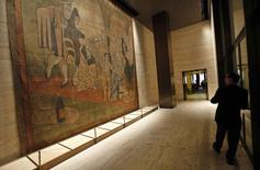 """A 19-by-20-foot theater curtain """"Le Tricorne"""" painted by Pablo Picasso hangs at the Four Seasons restaurant in New York City, April 1, 2014 file photo.  REUTERS/Mike Segar"""
