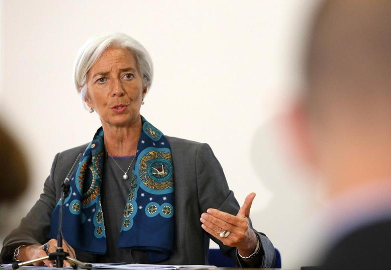 IMF Managing Director Christine Lagarde prepares to host a news conference at the Treasury, in London June 6, 2014.   REUTERS/Paul Hackett