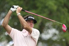 Bubba Watson tees off on the 14th hole during the second round of the 2014 U.S. Open golf tournament at Pinehurst Resort Country Club - #2 Course. Mandatory Credit: Jason Getz-USA TODAY Sports