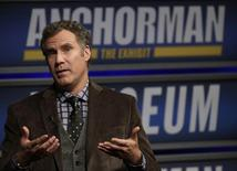 "Actor Will Ferrell speaks while being interviewed by Washington Post film critic Ann Hornaday (not pictured) at the Newseum during an event for ""Anchorman2: The Legend Continues"" in Washington December 3, 2013.   REUTERS/Gary Cameron"