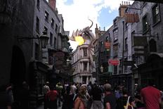 A dragon breathes fire above The Wizarding World of Harry Potter-Diagon Alley during a media preview at the Universal Orlando Resort in Orlando, Florida June 19, 2014. REUTERS/David Manning