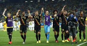Jogadores da Bélgica comemoram vitória sobre a Coreia do Sul em São Paulo. 26/06/2014. REUTERS/Eddie Keogh