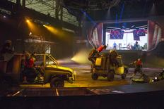 Actors take part in an action car chase scene during a rehearsal for the new Marvel Universe LIVE! Show in this undated handout photo. REUTERS/Marvel Universe Live/Handout via Reuters