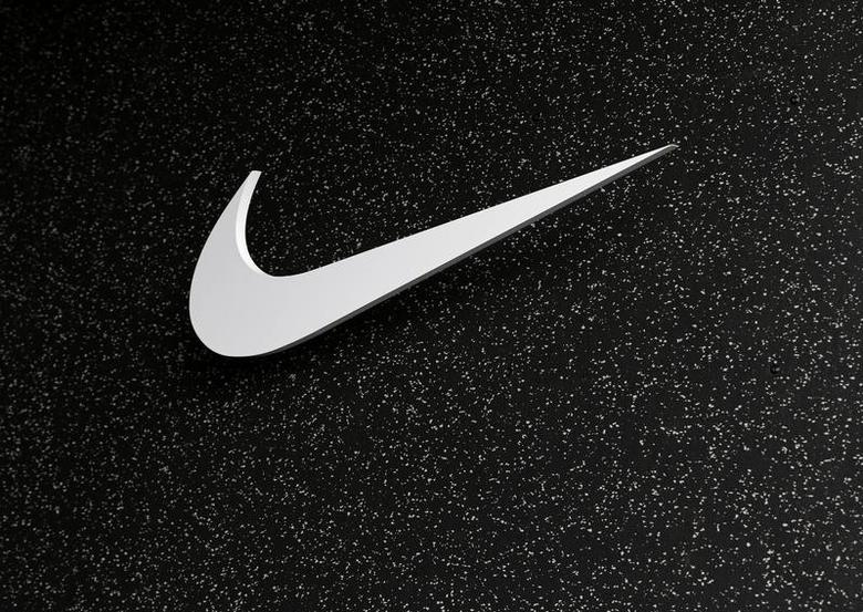 The company logo of Nike is shown at the U.S. Olympic athletics trials in Eugene, Oregon June 21, 2012.  REUTERS/Mike Blake/Files