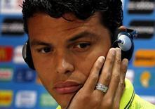 Thiago Silva participa de entrevista coletiva no estádio Mineirão. 7/7/2014. REUTERS/David Gray