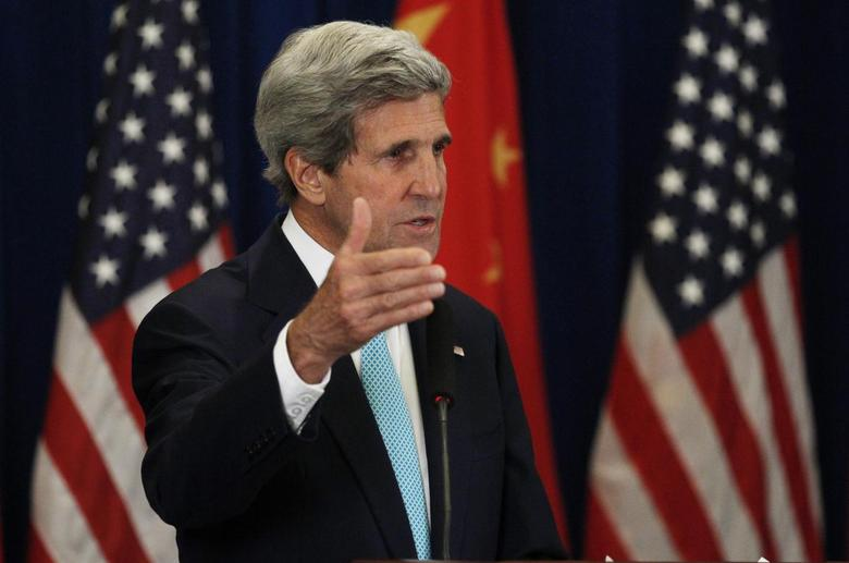 U.S. Secretary of State John Kerry speaks during a news conference after the conclusion of the sixth round of U.S.-China Strategic and Economic Dialogue, known as the ''S&ED'' talks, in Beijing July 10, 2014.  REUTERS/Jim Bourg
