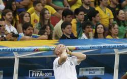 Técnico Luiz Felipe Scolari durante partida contra a Holanda. 12/07/2014   REUTERS/Ueslei Marcelino
