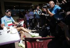 Astana team rider Vincenzo Nibali of Italy poses for photographers on the first rest day of the Tour de France cycling race in Besancon July 15, 2014. REUTERS/Christian Hartmann