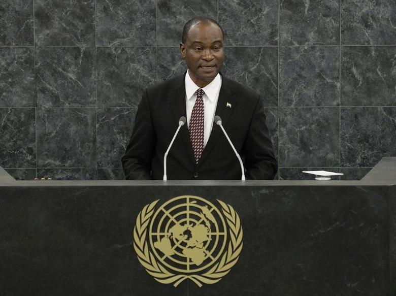 Samura Kamara, Foreign Minister of Sierra Leone, speaks during the 68th Session of the United Nations General Assembly at UN headquarters in New York, September 26, 2013.  REUTERS/Stan Honda/Pool  (UNITED STATES  - Tags: POLITICS)   - RTX141DN