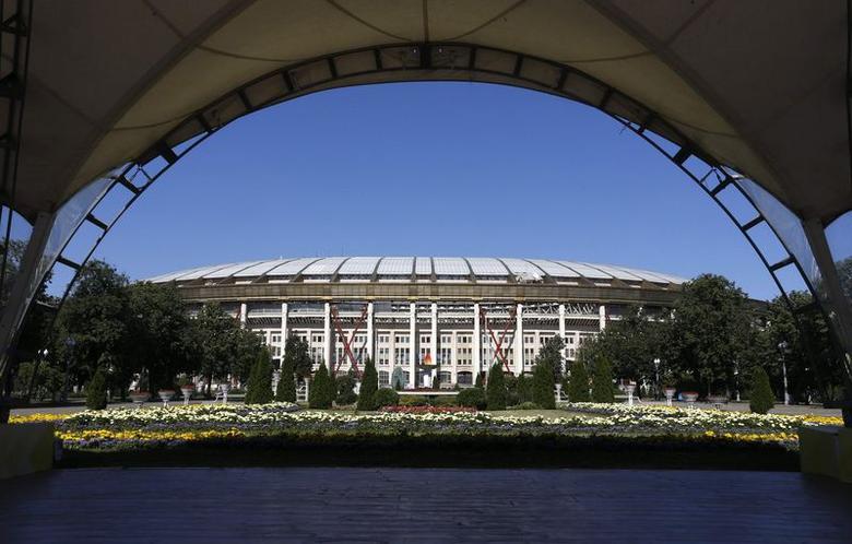 A general view of the Luzhniki Stadium is seen in Moscow July 14, 2014. REUTERS/Sergei Karpukhin