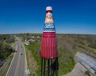 A water tower shaped like a ketchup bottle is seen in the town of Belleville, Illinois in a March 2014 photo. REUTERS/Mark Ahlvers/Handout via Reuters