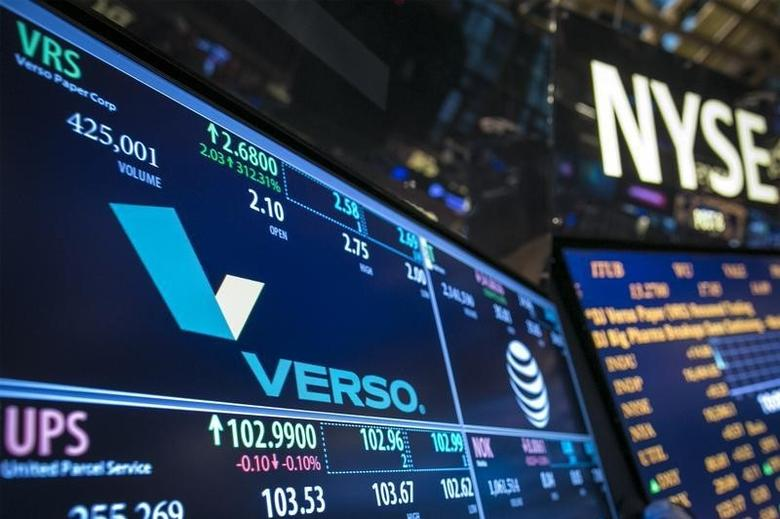 The ticker symbol for Verso Paper Corp. is displayed at the post where it trades on the floor of the New York Stock Exchange January 6, 2014.  REUTERS/Brendan McDermid