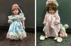 A combination photo showing two of the porcelain dolls found on doorsteps of numerous residences in the Talega community of San Clemente, California, July 24, 2014.   REUTERS/Orange County Sheriff's Department/Handout via Reuters