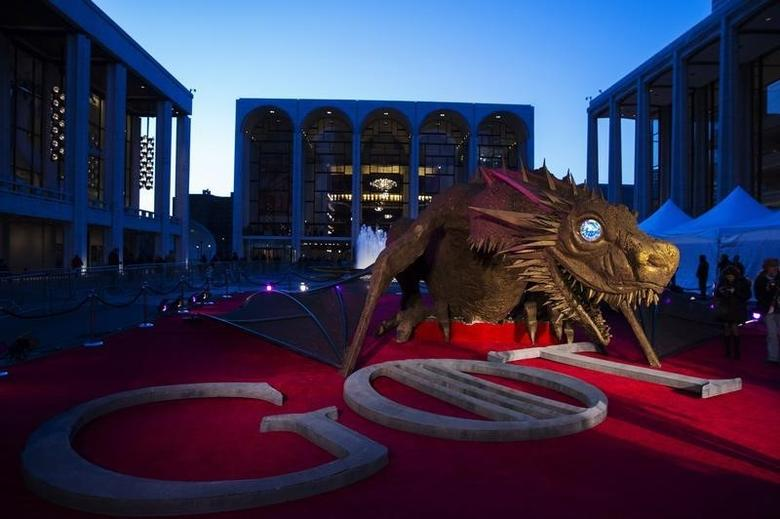 A dragon statue stands on a red carpet in preparation for the season four premiere of the HBO series ''Game of Thrones'' in New York March 18, 2014. REUTERS/Lucas Jackson/Files
