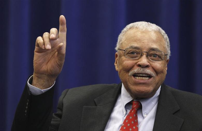Cast member James Earl Jones gestures as he answers a question regarding his role in Gore Vidal's upcoming Broadway production of the play ''The Best Man'' in New York February 1, 2012. REUTERS/Lucas Jackson/Files