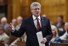 Canada's Prime Minister Stephen Harper speaks during Question Period in the House of Commons on Parliament Hill in Ottawa June 18, 2014. REUTERS/Chris Wattie