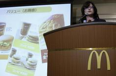 McDonald's Holdings Co (Japan) President and Chief Executive Officer (CEO) Sarah Casanova speaks during a news conference in Tokyo July 29, 2014. REUTERS/Yuya Shino
