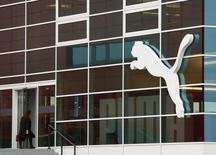La casa matriz del fabricante de indumentaria deportiva Puma en Herzogenaurach, Alemania, feb 20 2014.  Puma dijo que sus ganancias del segundo trimestre cayeron menos de lo que se temía, ayudadas por la venta de camisetas de selecciones que participaron en la Copa del Mundo de fútbol y por un nuevo acuerdo con el Arsenal de Inglaterra.   REUTERS/Michaela Rehle