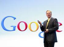 Google Chairman Eric Schmidt speaks at a Motorola phone launch event in New York, in this file photo taken September 5, 2012.   REUTERS/Brendan McDermid/Files