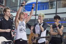 """Members of the Australian band """"5 Seconds of Summer"""" (L-R) Luke Hemmings, Ashton Irwin, Michael Clifford and Calum Hood appear on NBC's 'Today' show in New York July 22, 2014. REUTERS/Brendan McDermid"""