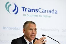 TransCanada President and Chief Executive Officer Russ Girling addresses the media after the Annual General Meeting in Calgary, Alberta, May 2, 2014. REUTERS/Mike Sturk