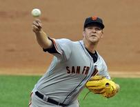 San Francisco Giants starting pitcher Matt Cain (18) pitches against the Chicago White Sox at U.S Cellular Field on June 17, 2014. Matt Marton-USA TODAY Sports