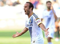 Los Angeles Galaxy forward Landon Donovan (10) reacts after scoring his 136th MLS goal in the second half of the game against the Philadelphia Union at StubHub Center on May 25, 2014. USA TODAY Sports/Jayne Kamin-Oncea