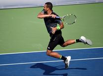 Canada; Jo-Wilfried Tsonga (FRA) plays a forehand against Grigor Dimitrov (BUL) on day six of the Rogers Cup tennis tournament at Rexall Centre-Tsonga won 6-4 6-3. Peter Llewellyn-USA TODAY Sports
