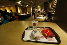 A burger set is displayed at a McDonald's restaurant in Hong Kong in this photo illustration taken July 31, 2014.  REUTERS/Bobby Yip