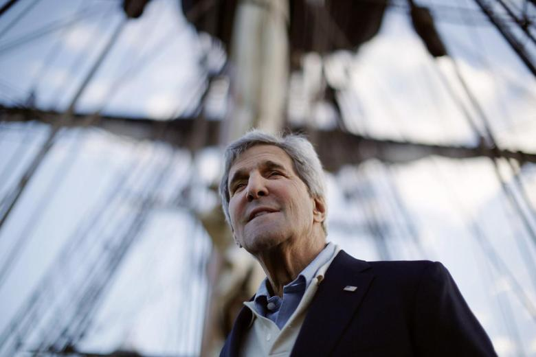 U.S. Secretary of State John Kerry is pictured aboard a replica of Captain Cook's ship 'Endeavour' during his visit to the Australian National Maritime Museum in Sydney, August 11, 2014.  REUTERS/Jason Reed