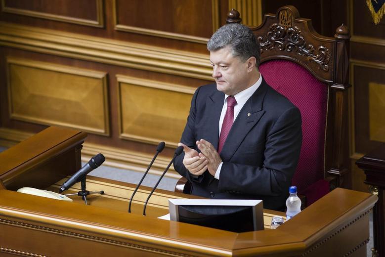 Ukraine's President Petro Poroshenko attends a parliament session in Kiev July 31, 2014.  REUTERS/Andrew Kravchenko/Pool
