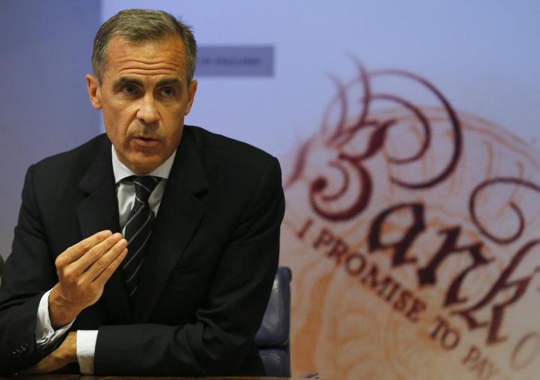 Bank of England Governor Mark Carney speaks during the bank's quarterly inflation report news conference at the Bank of England in London August 13, 2014. REUTERS/Suzanne Plunkett